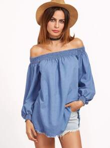 Blue Off The Shoulder Long Sleeve Blouse