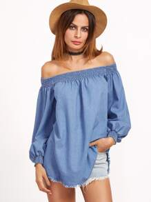 Blue Off The Shoulder Long Sleeve Blouse