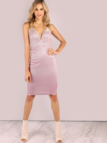 Backless Metallic Sparkle Bodycon Dress PINK