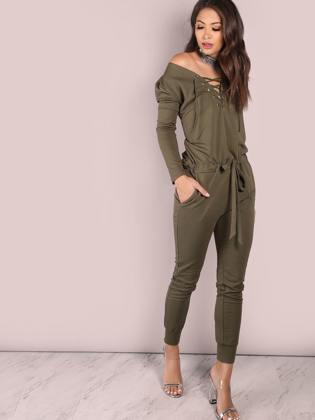 Фото Slouchy Lace Up Cotton Jumpsuit OLIVE. Купить с доставкой