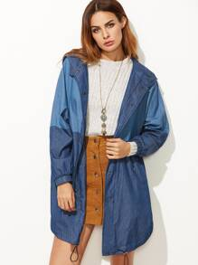 Contrast Drawstring Hem Hooded High Low Chambray Coat