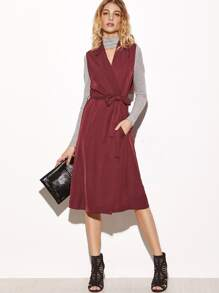 Burgundy Notch Collar Slit Flap Back Sleeveless Wrap Coat