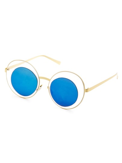Gold Frame Blue Mirrored Lens Hollow Out Sunglasses