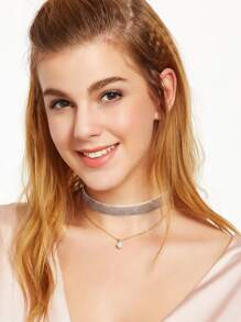 Grey Faux Pearl Pendant Velvet Choker Necklace