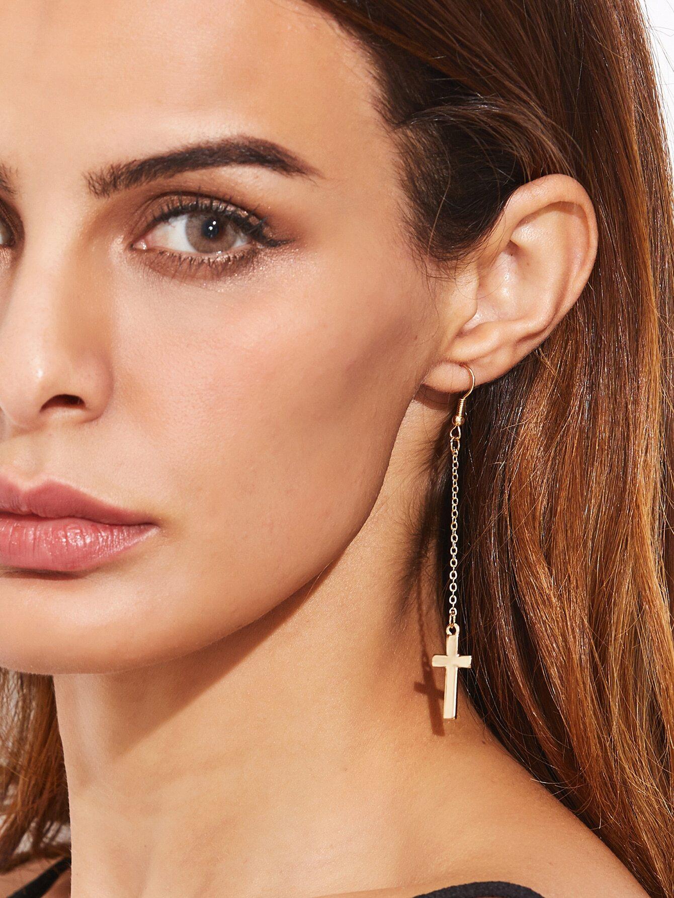 Фото Gold Plated Cross Pendant Long Drop Earrings. Купить с доставкой