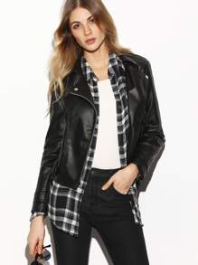 Black Oblique Zipper Faux Leather Jacket