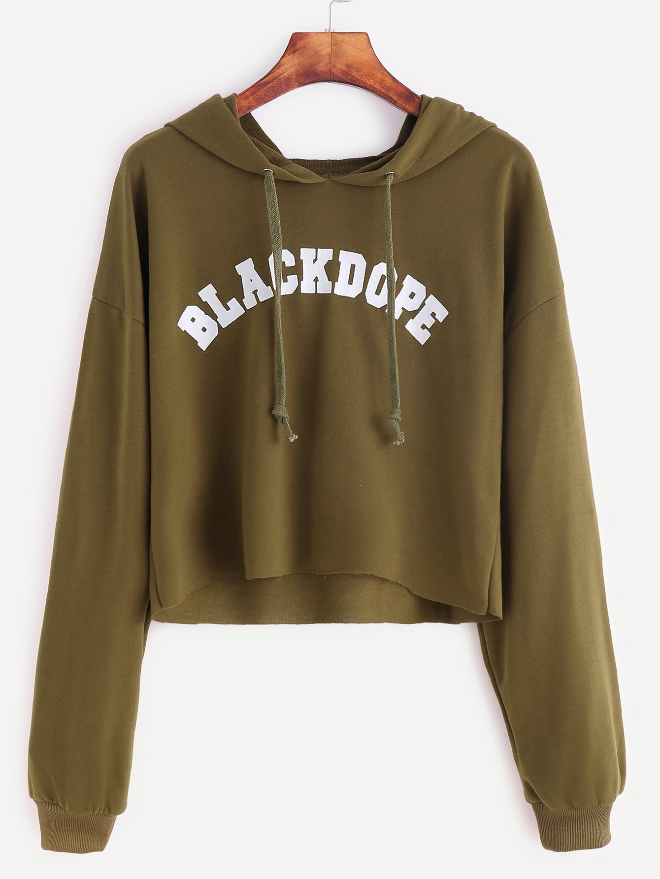 Khaki Letter Print Raw Hem Crop Sweatshirt sweatshirt161102102