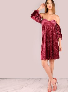 Off The Shoulder Ruched Sleeve Crushed Velvet Dress BURGUNDY