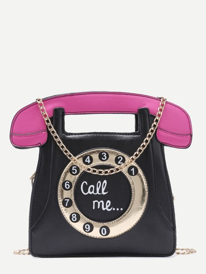 Black Call Me Tel Bag With Chain Strap