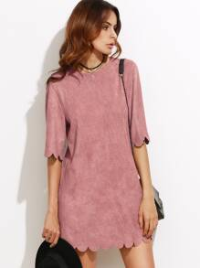 Pink Suede Scallop Mini Dress