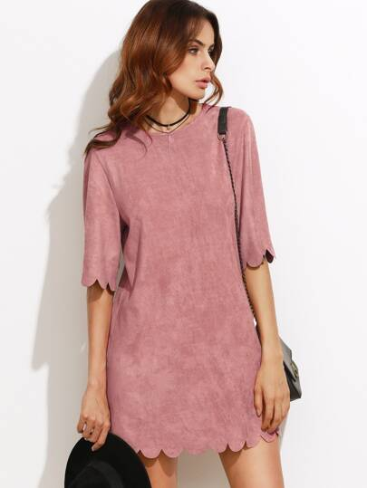 Suede Scallop Mini Dress