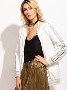 White Striped Trim Zip Up Bomber Jacket