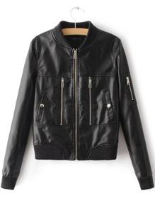 Black Zipper Detail Ribbed Trim PU Jacket