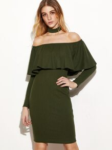 Army Green Off The Shoulder Ruffle Dress With Choker