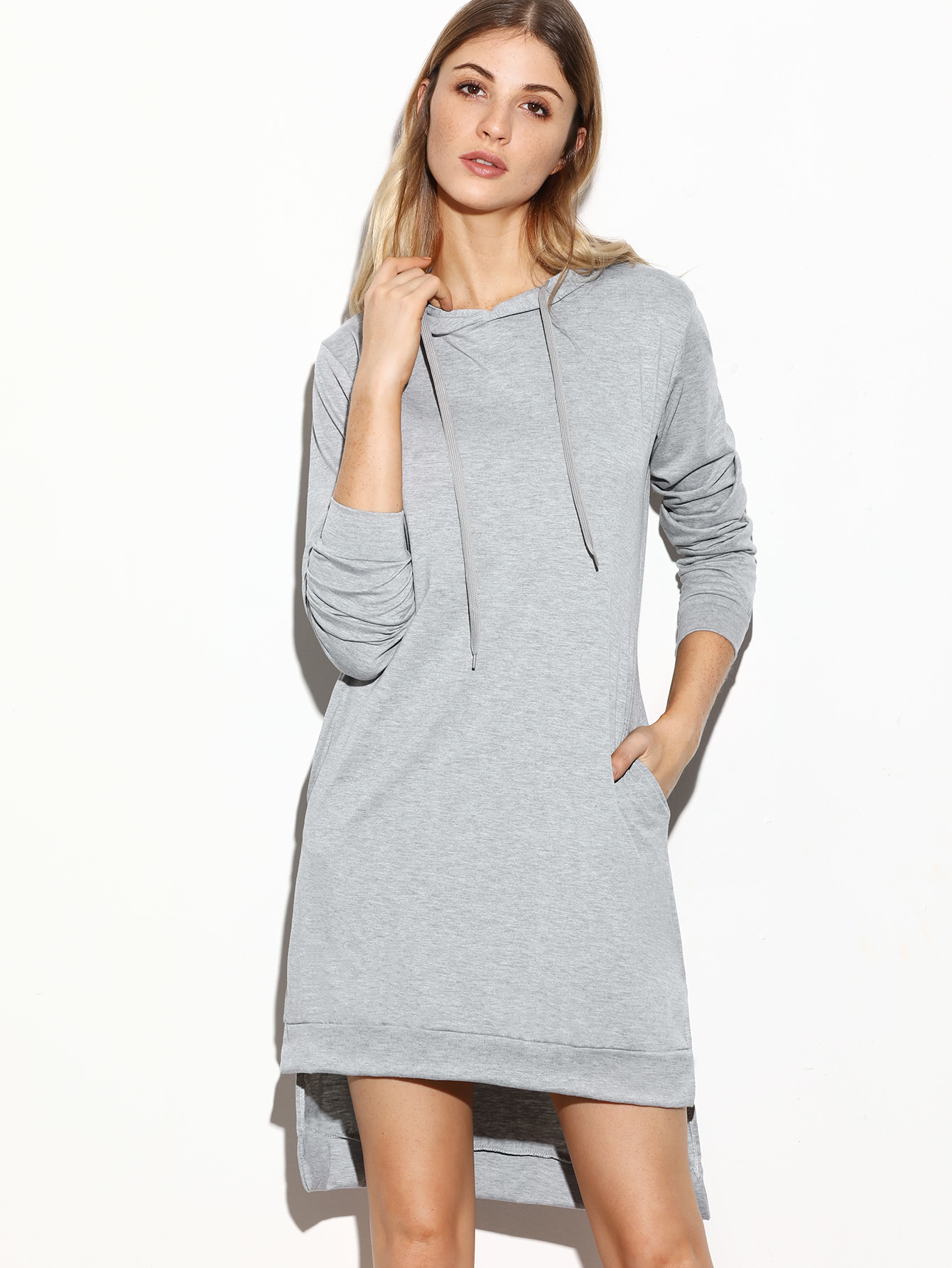 grey hooded slit side high low sweatshirt dress shein sheinside. Black Bedroom Furniture Sets. Home Design Ideas