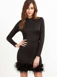 Black Mock Neck Feather Hem Tight Dress