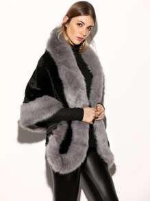 Color Block Faux Fur Poncho Coat