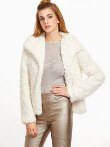 White Drape Collar Open Front Fluffy Coat