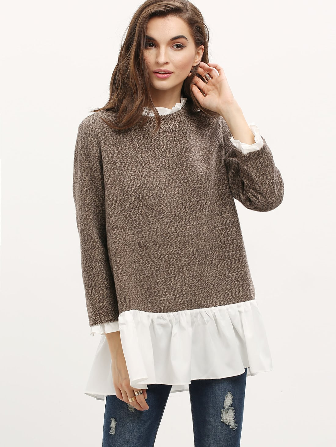 Contrast Frill Neck And Hem Sweater sweater151027504