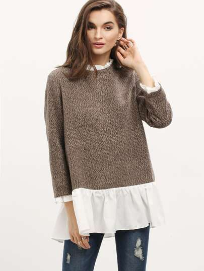 Pull color-block manches longues -marron blanc