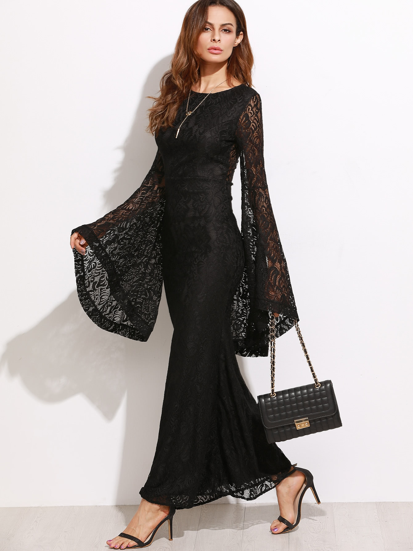 Oversized Bell Sleeve Floral Lace Dress Shein Sheinside