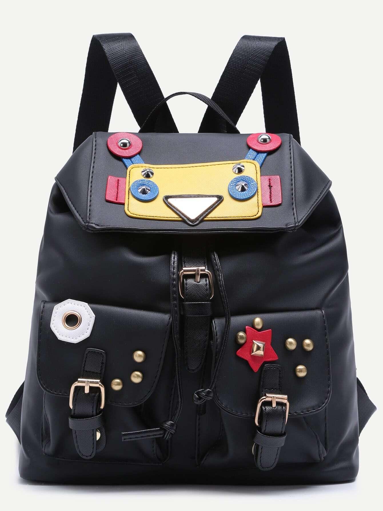 Фото Wacky Robot Double Buckled Pocket Studded Nylon Backpack. Купить с доставкой