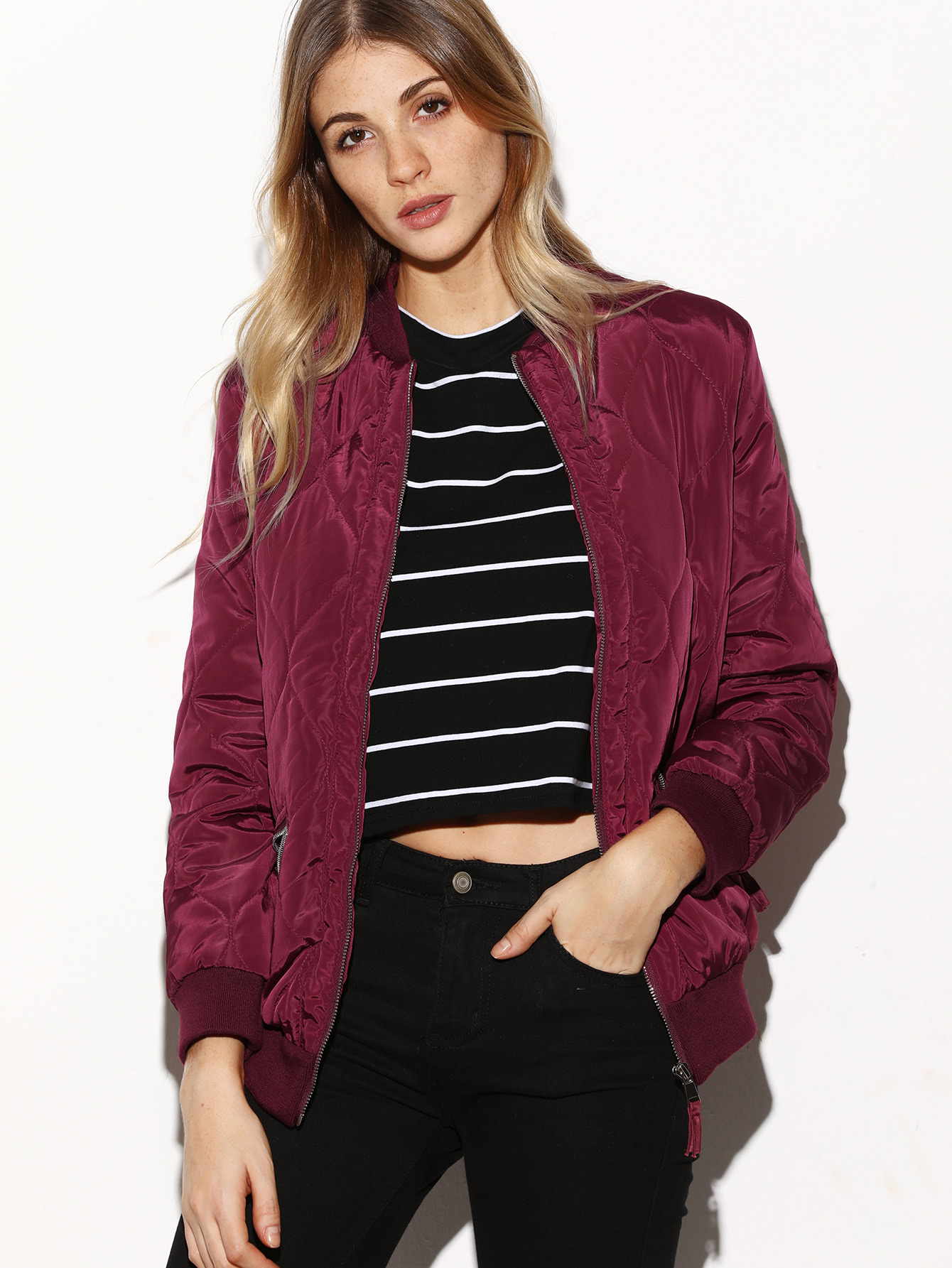 Contrast Ribbed Trim Quilted Bomber Jacket striped trim fluffy panel bomber jacket