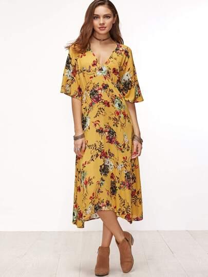 Жёлтое модное платье с цветочным принтом