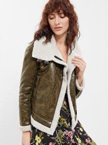 Olive Green Faux Shearling Asymmetric Zip Jacket