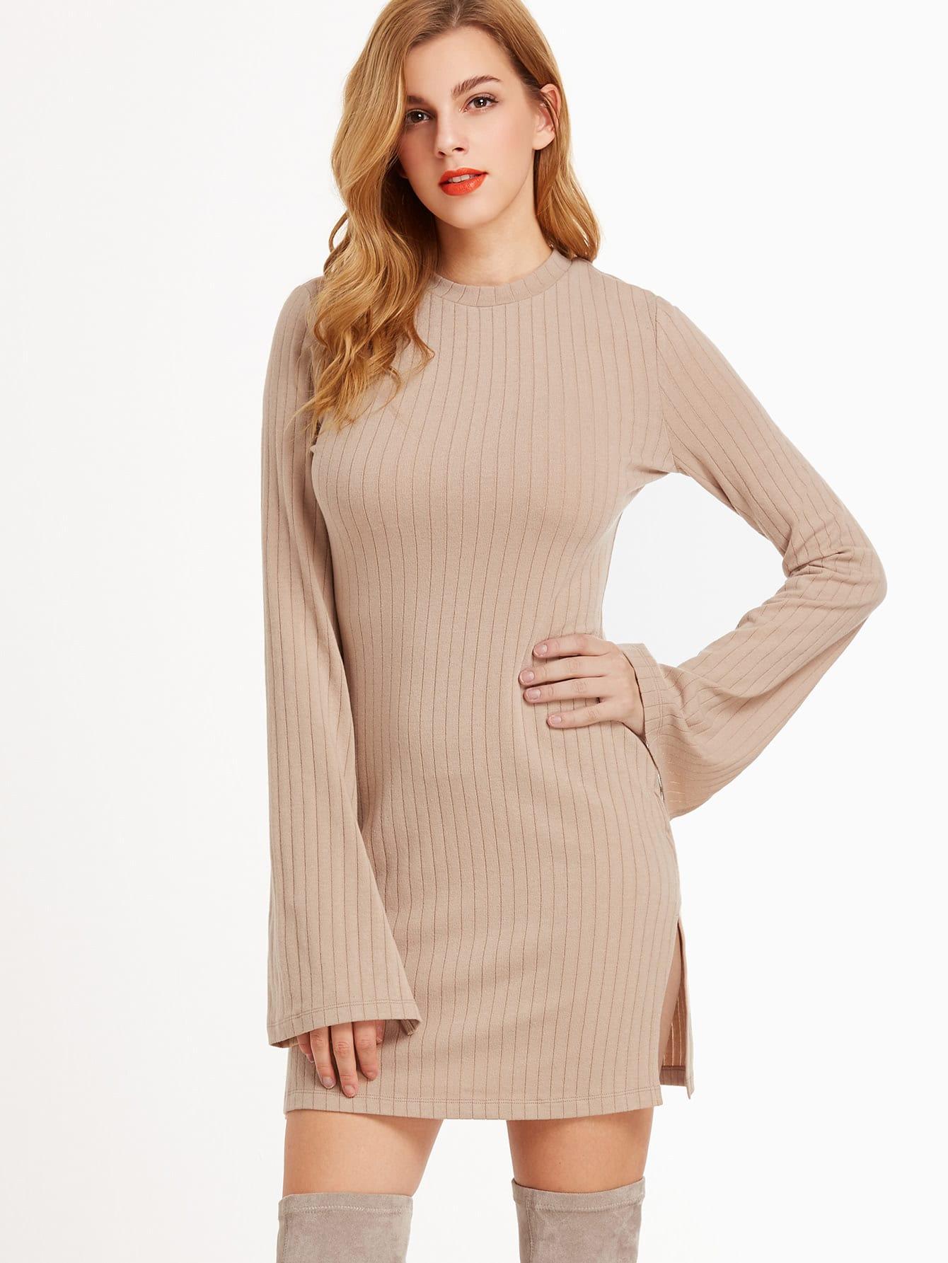 Camel Ribbed Knit Bell Sleeve Split Side Dress dress161116705