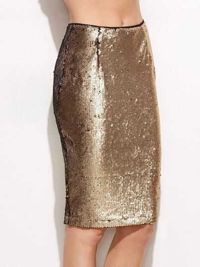 Gold Split Back Sequin Pencil Skirt