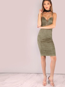 Suede Cross Bust Cami Bodycon Dress OLIVE