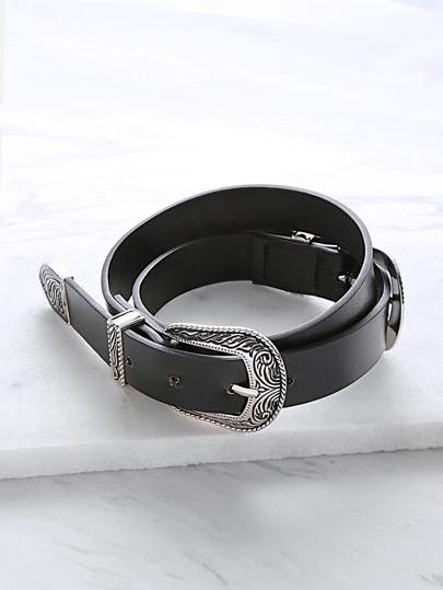 Cinturón de cuero sintético con doble hebilla tallada - negro