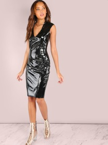 Shiny Patent Latex Deep V Dress BLACK