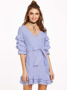 Blue And White Striped Surplice Front Belted Ruffle Dress