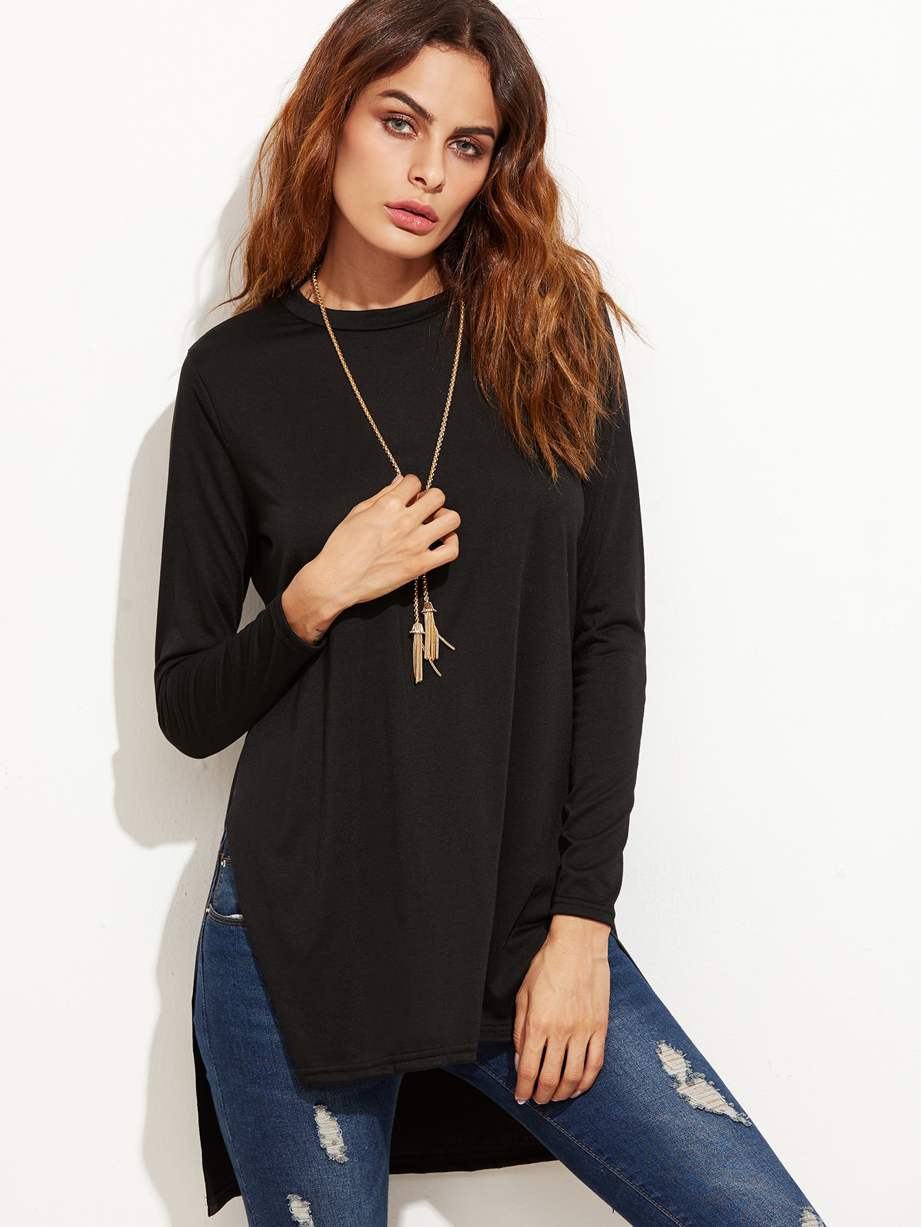 Black Slit Side High Low T-shirt side slit high low shirt collar long sleeve shirt