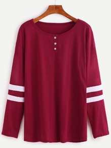 Burgundy Varsity Striped Button T-shirt