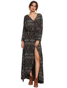 Tie Waist Floor Length Wrap Dress