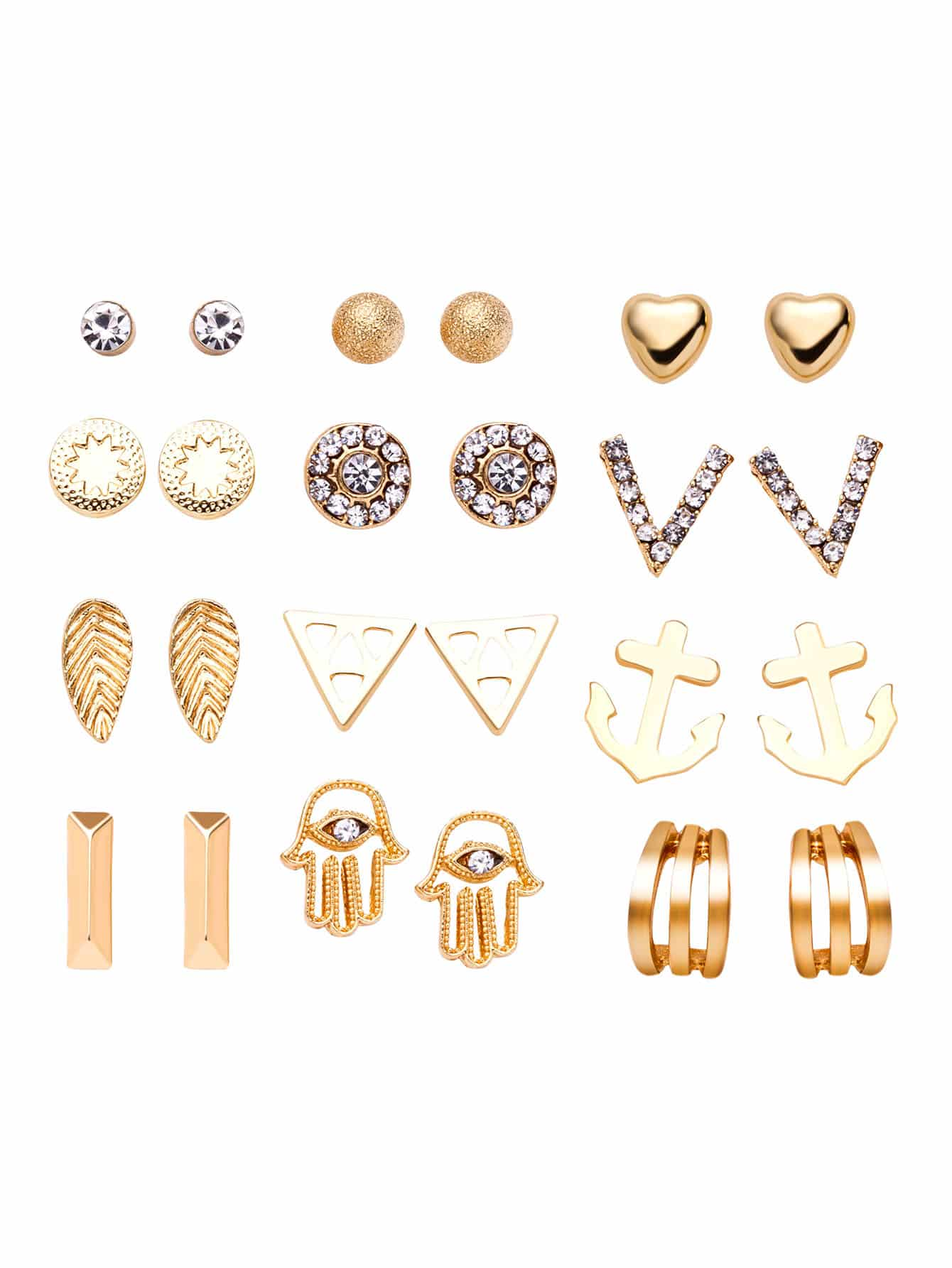 Gold Plated Rhinestone Multi Shape Stud Earrings Set 9 cd
