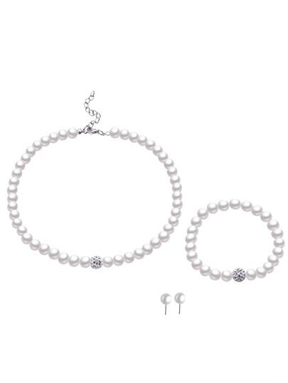 Set de bijoux faux perle perlée strass élégant -blanc