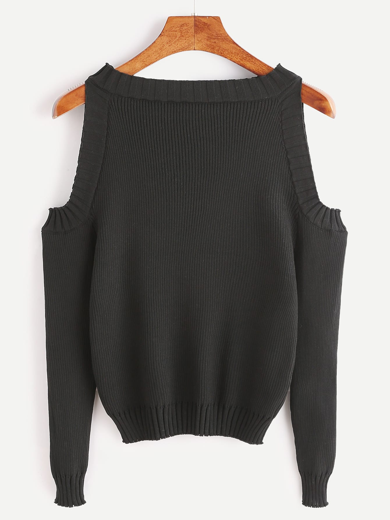 Open Shoulder Rib Knit Sweater open knit long sweater