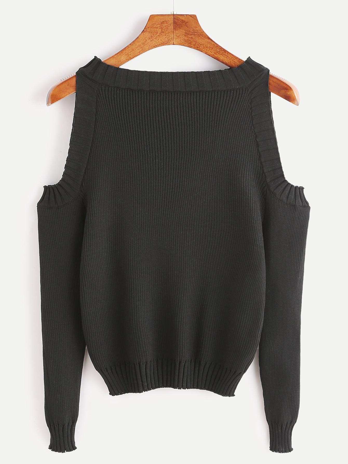 Open Shoulder Rib Knit Sweater