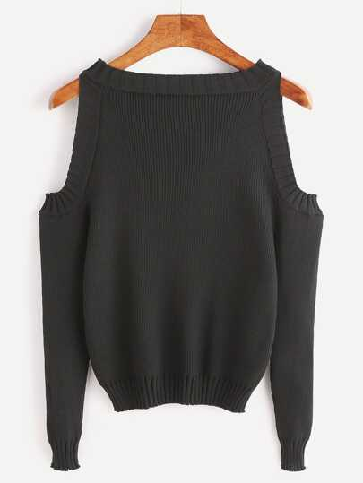 Open Shoulder Rib Knit Sweater