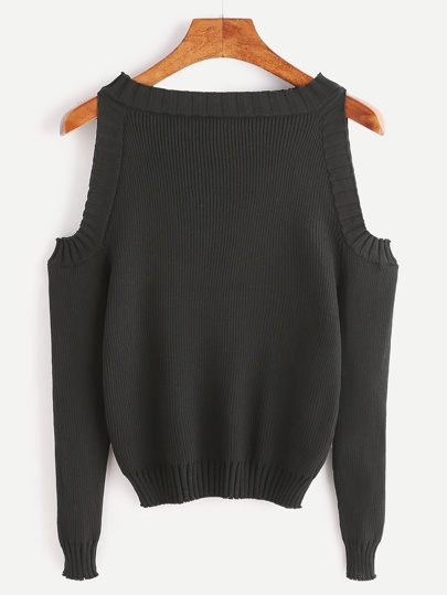 Jersey con hombro abierto de manga larga - negro