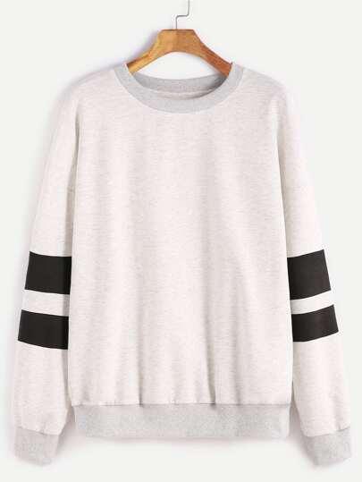 Heather Grey Drop Shoulder Striped Sleeve Sweatshirt