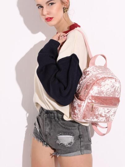 Zip Front Velvet Backpack PU Strap