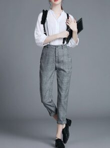 White V Neck Hollow Two-pieces Suspenders Pants