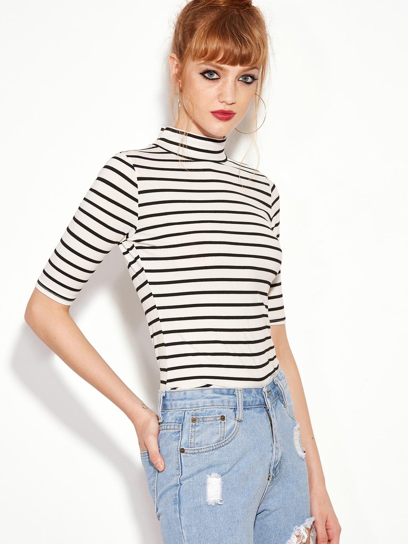 Фото Black White Striped High Neck Slim T-shirt. Купить с доставкой