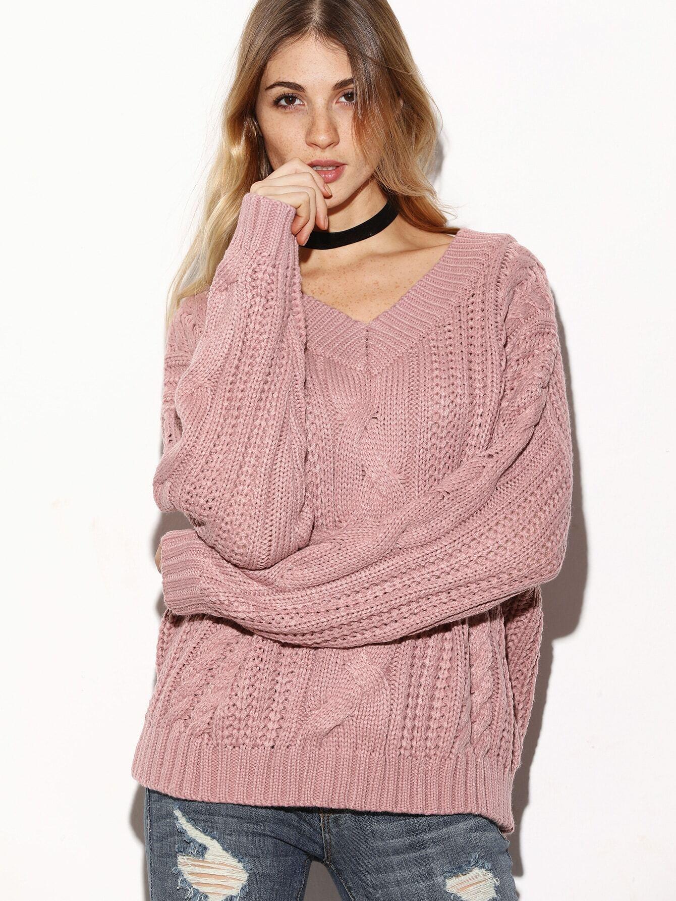 Pink V Neck Drop Shoulder Cable Knit Sweater -SheIn(Sheinside)