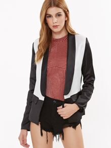Color Block Shawl Collar Slim Fit Blazer